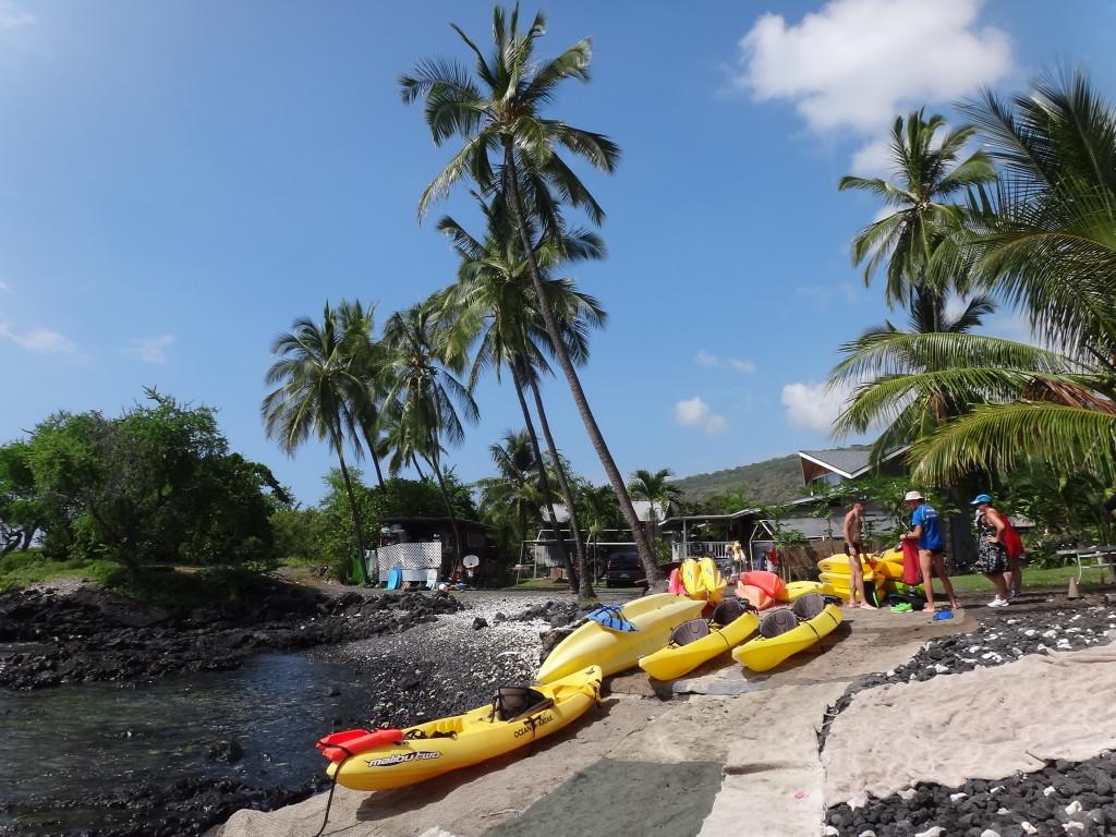 Kayaks at Kahauloa.