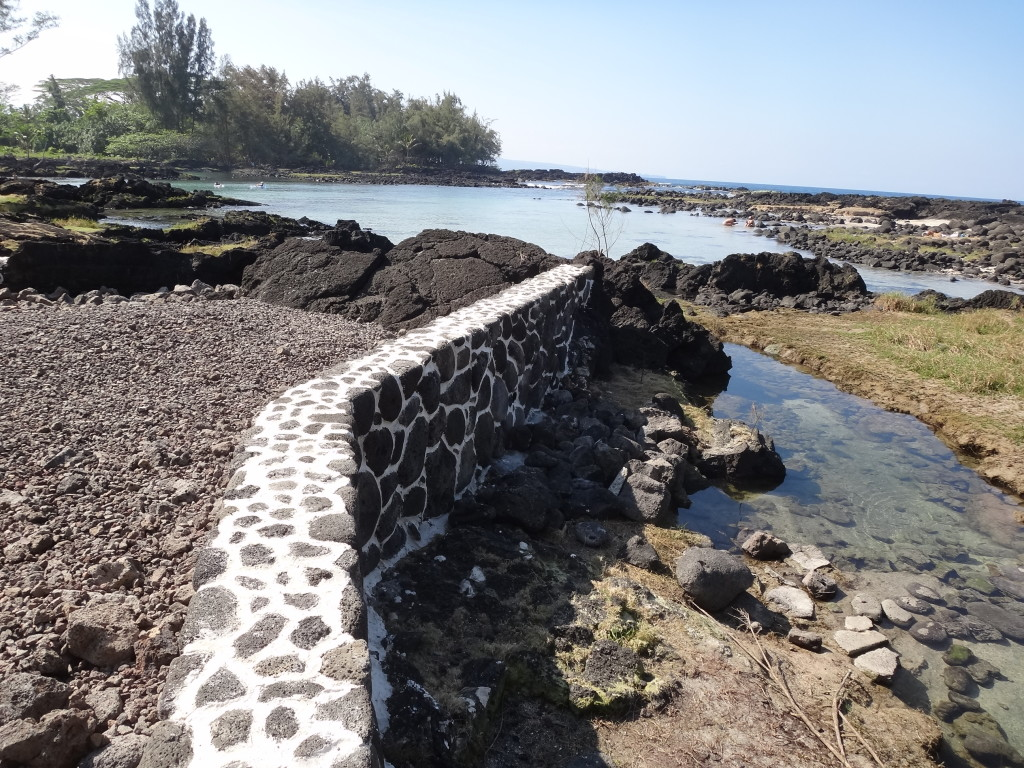 The newly built seawall fronting property owned by architect Robert Iopa in the Lalakea area of Hilo.
