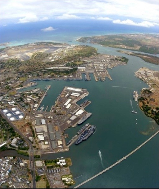Aerial view of Joint Base Pearl Harbor-Hickam.